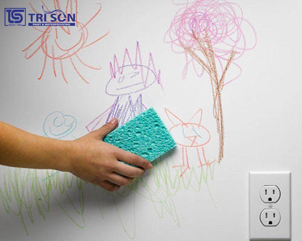 mẹo đánh bay vết vẽ trên tường của bé